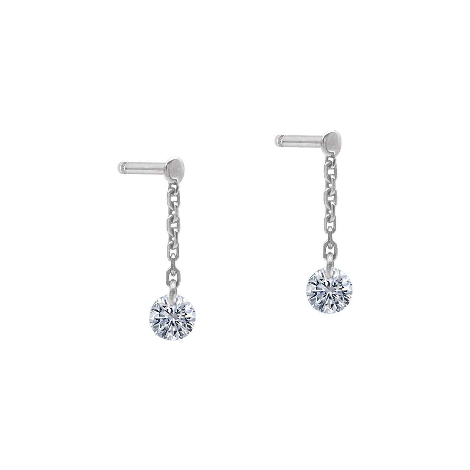 Boucles d'oreilles pendantes LA BRUNE & LA BLONDE 360° en or blanc et diamants de 0.20ct