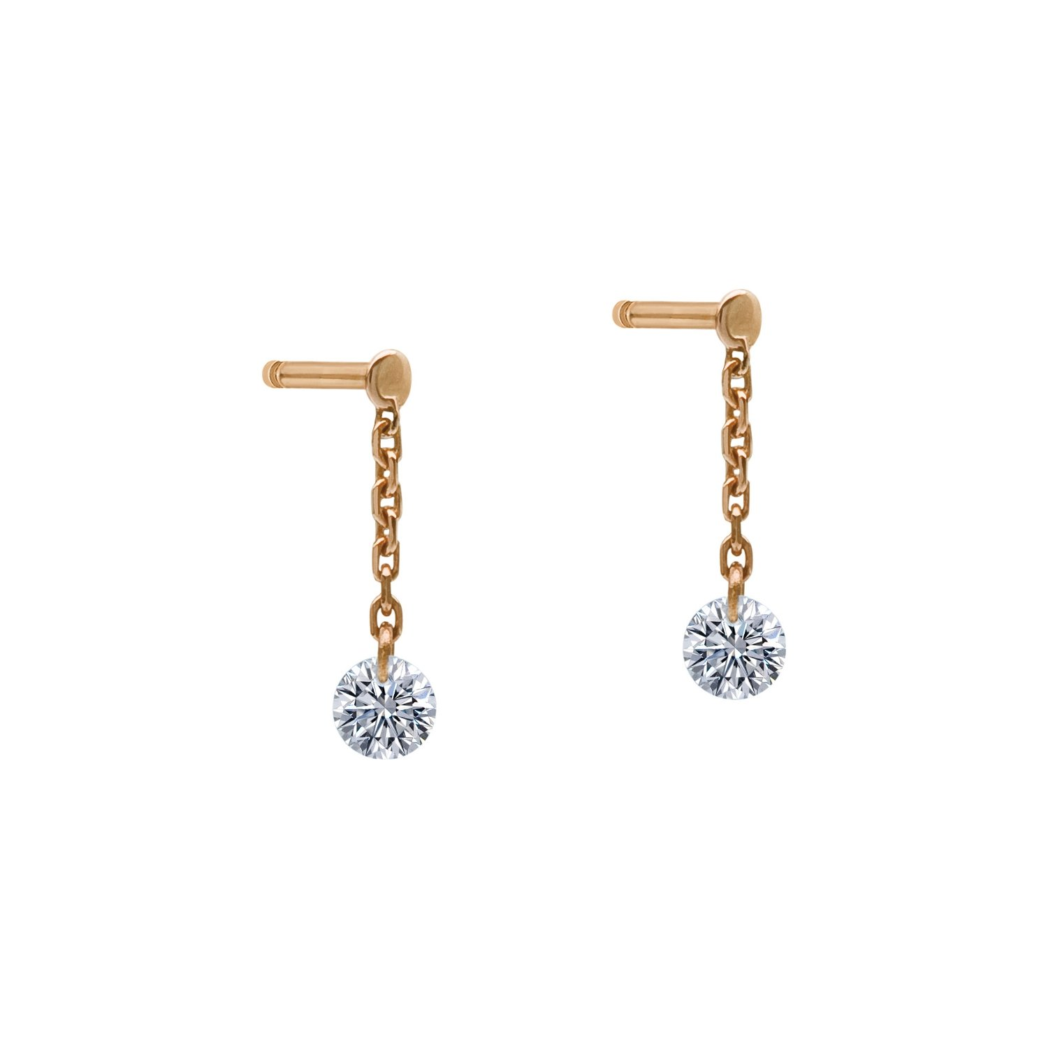 Boucles d'oreilles pendantes LA BRUNE & LA BLONDE 360° en or rose et diamants de 0.40ct