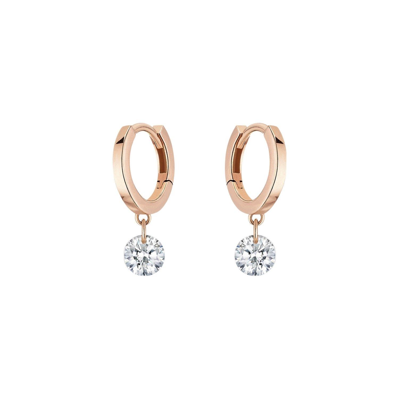 Boucles d'oreilles créoles LA BRUNE & LA BLONDE 360° en or rose et diamants de 0.14ct