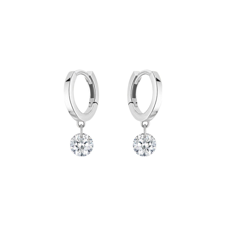 Boucles d'oreilles créoles LA BRUNE & LA BLONDE 360° en or blanc et diamants de 0.40ct