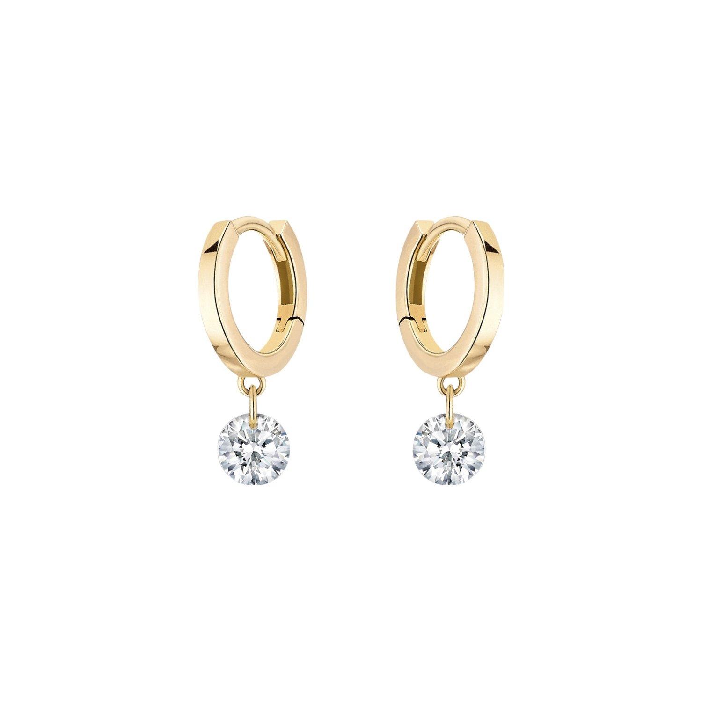 Boucles d'oreilles créoles LA BRUNE & LA BLONDE 360° en or jaune et diamants de 0.40ct