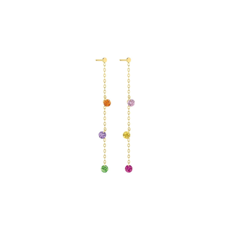 Boucles d'oreilles pendentes LA BRUNE & LA BLONDE CONFETTI Rainbow en or jaune, rubis, saphirs rose, orange, jaunes, bleus, tsavorites et améthyste de 0.80ct