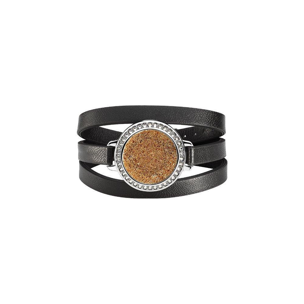 Bracelet Épure en plaqué argent, simili cuir et cristaux Fabric