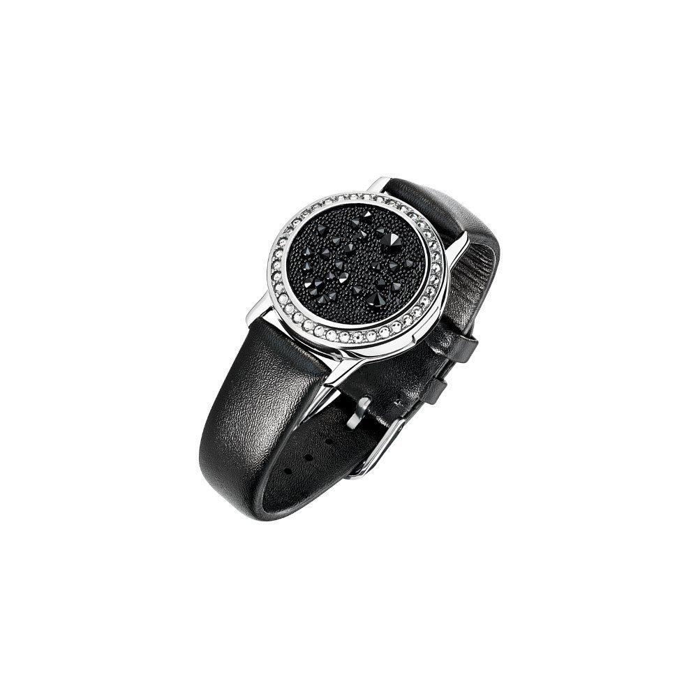 Bracelet Épure en plaqué argent, cuir et cristaux Medley