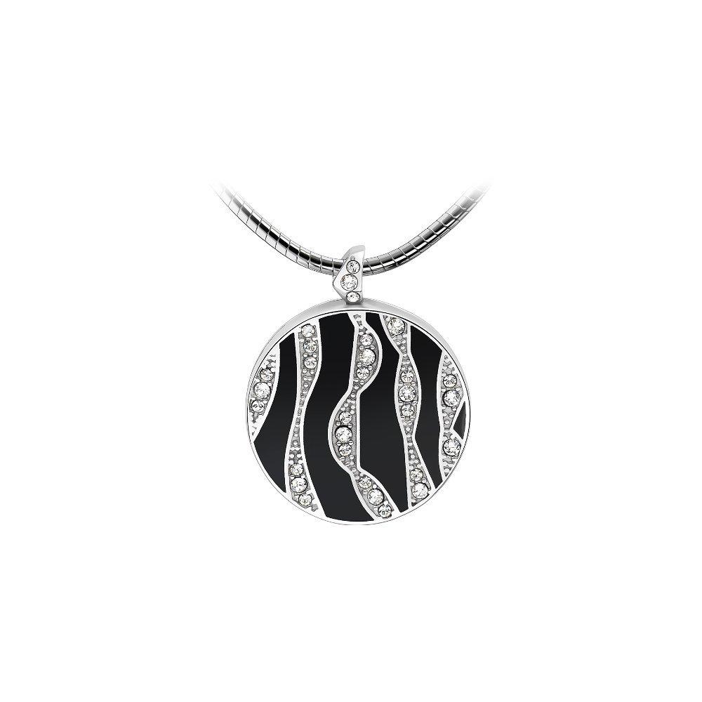 Pendentif Épure en plaqué argent, émail noir et cristaux Swarovski