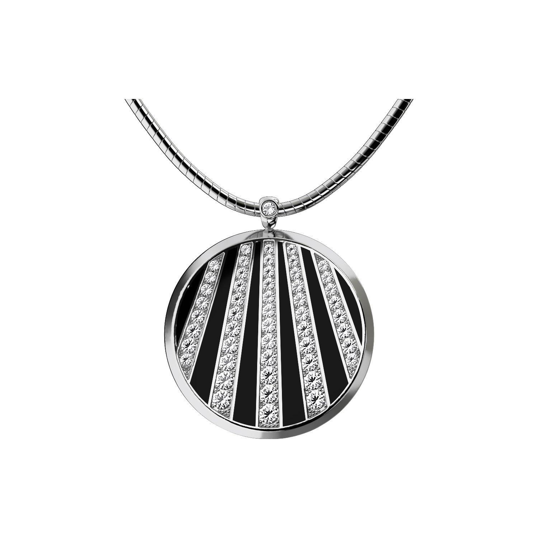 Pendentif Épure en plaqué argent, émail noir et cristaux Swarovski vue 1
