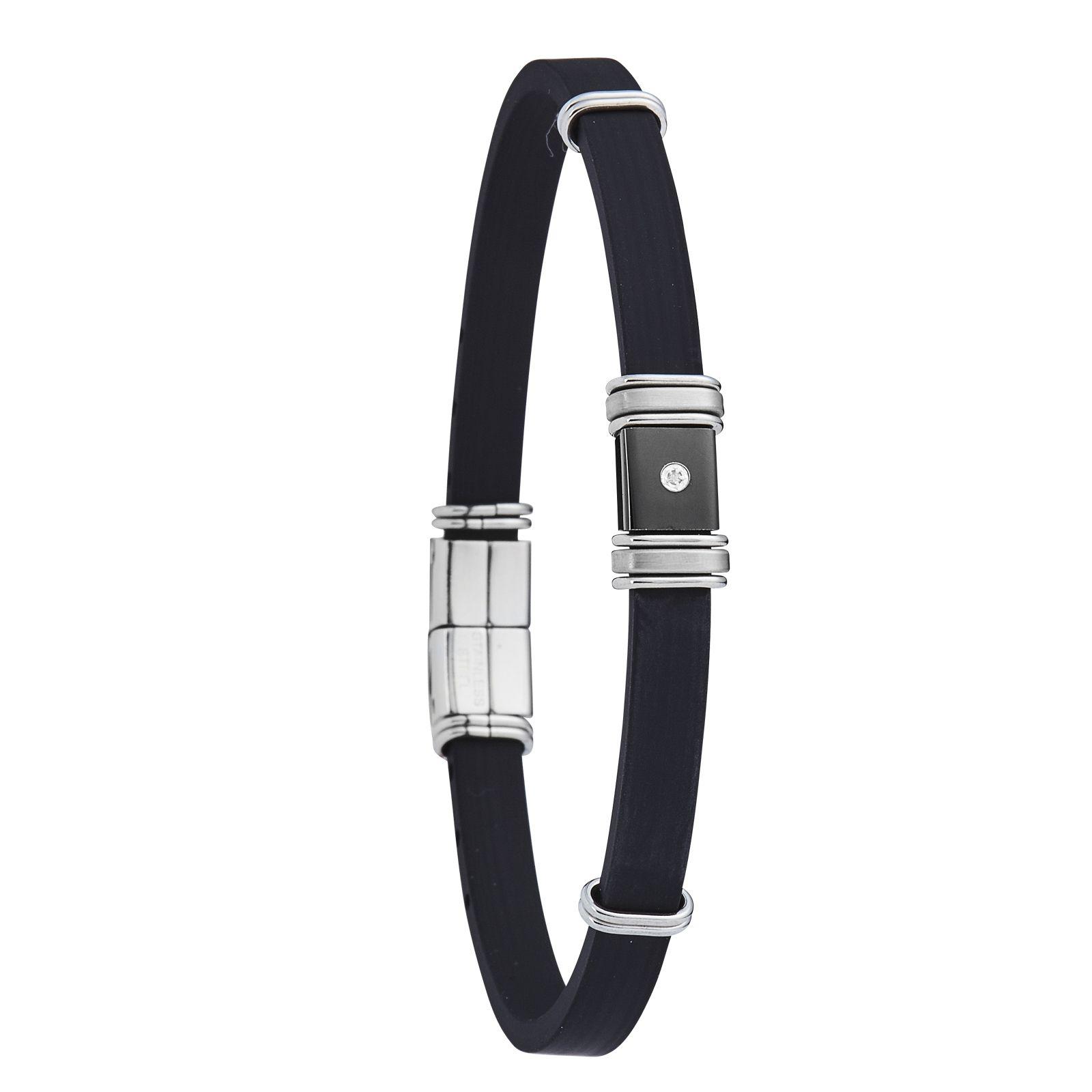 Bracelet Jourdan Bijoux en acier, caoutchouc et diamant
