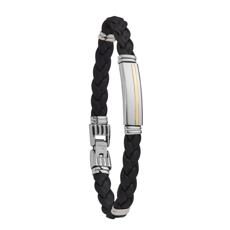 Bracelet Jourdan Bijoux Bottego en cuir et acier