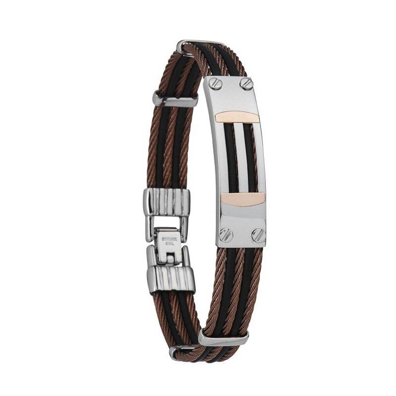Bracelet Jourdan Bijoux Funispace en acier et caoutchouc