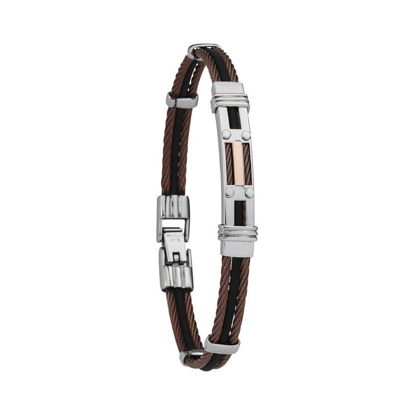 Bracelet Jourdan Bijoux Chabrieres en acier et caoutchouc
