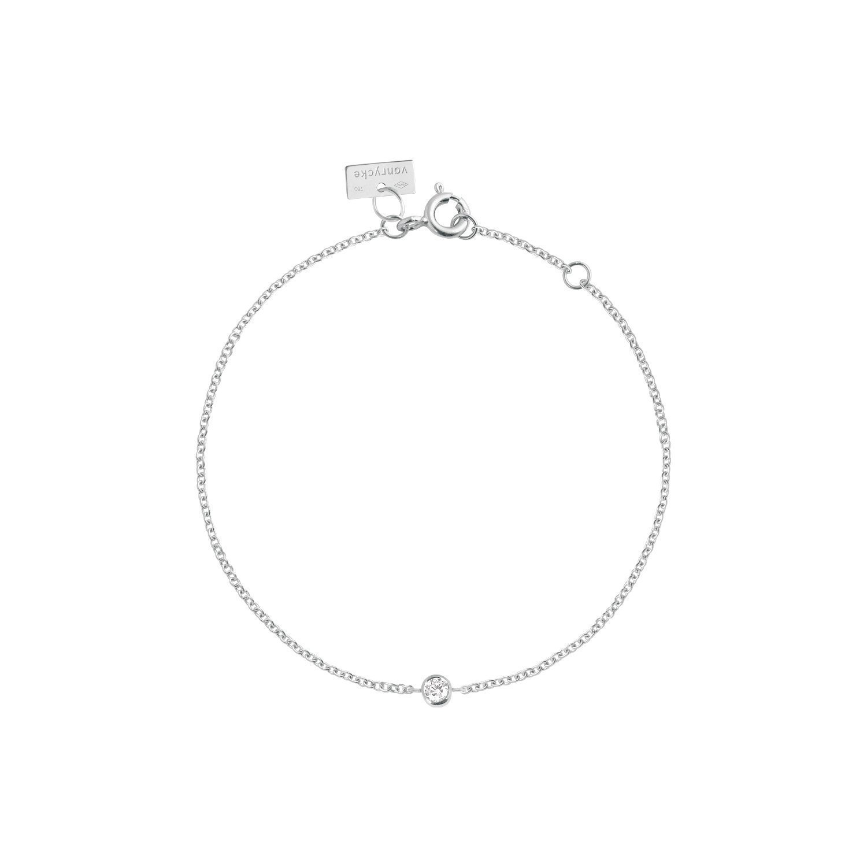 Bracelet Vanrycke One en or blanc et 1 diamant vue 1
