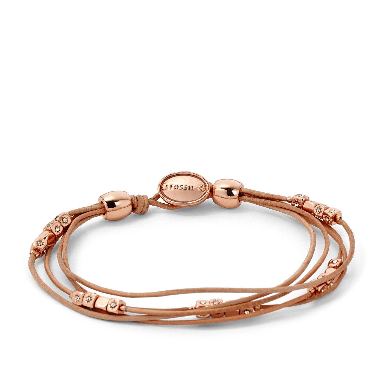 Bracelet FOSSIL en cuir sable