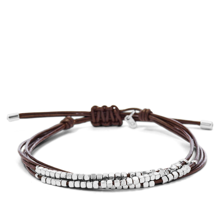 Bracelet FOSSIL en cuir et argent