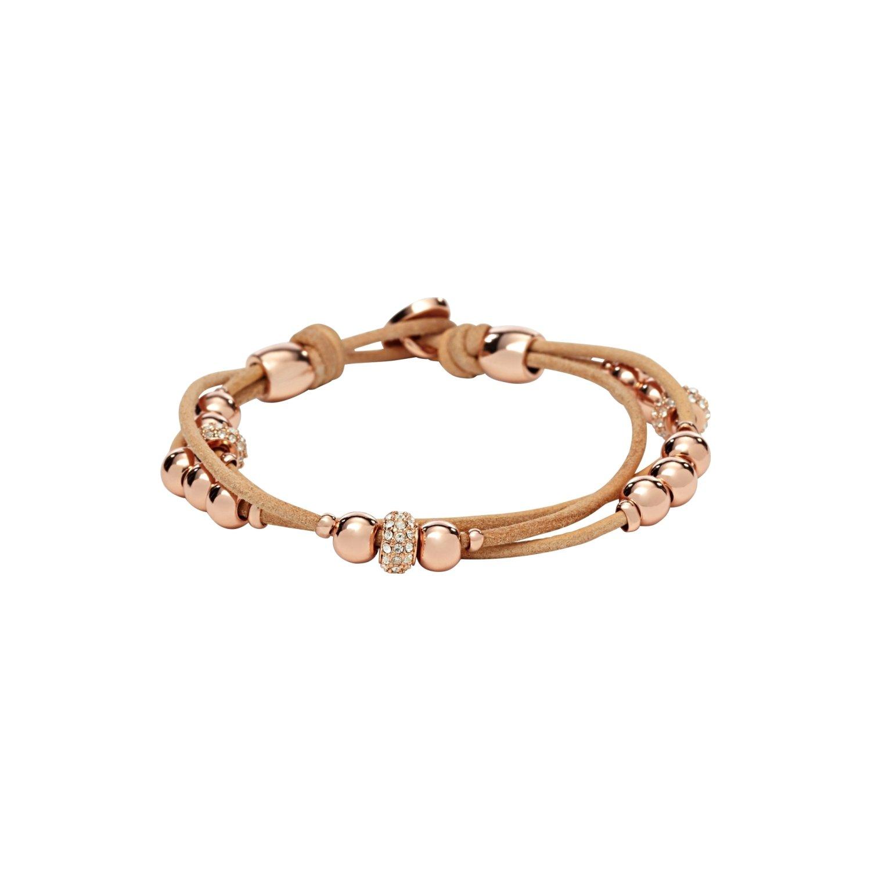 Bracelet FOSSIL en cuir et boules plaqué or rose