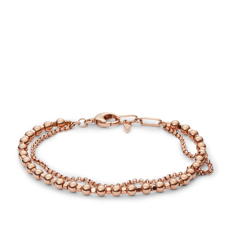 Bracelet FOSSIL perlé en plaqué or rose