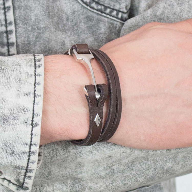 Bracelet Fossil en cuir, acier et verre vue 2