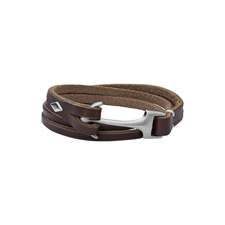 Bracelet Fossil en cuir, acier et verre vue 1