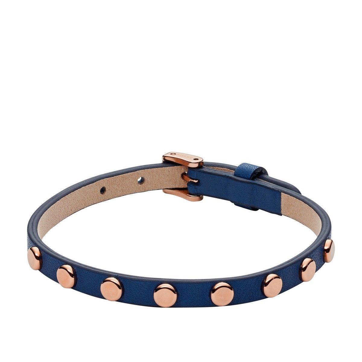 Bracelet FOSSIL en cuir et plaqué or rose
