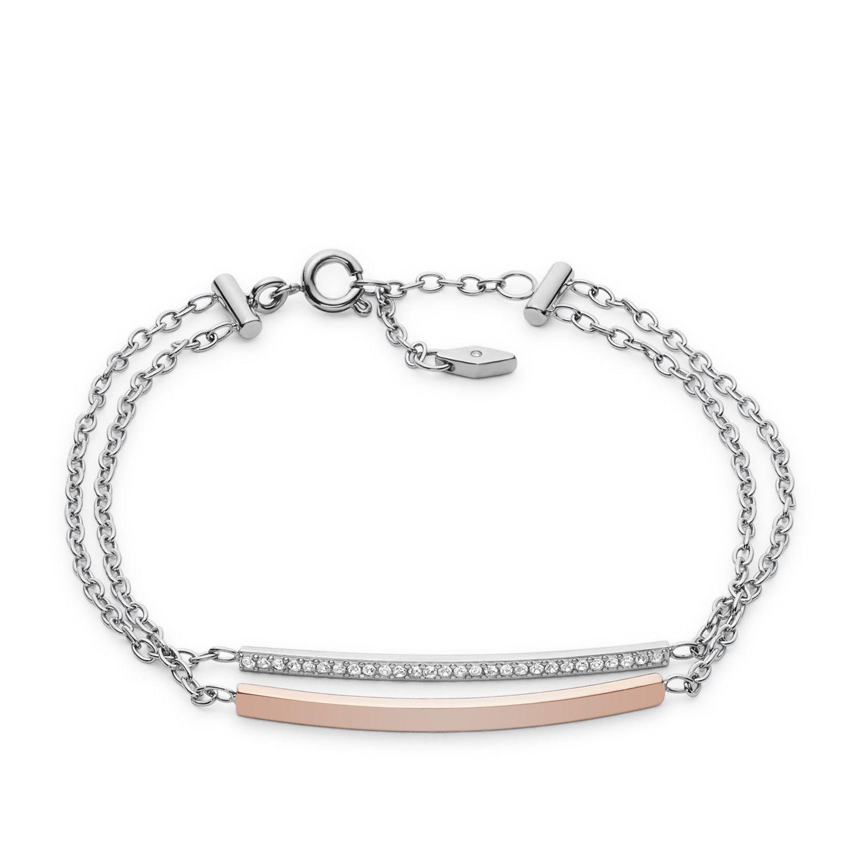 Bracelet FOSSIL en acier, plaqué or rose et oxyde de zirconium