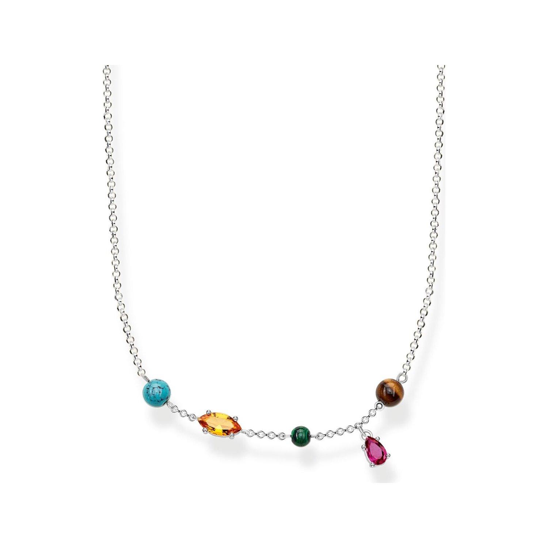 Chaîne Thomas Sabo Riviera Colours en argent et pierres multicolores vue 1