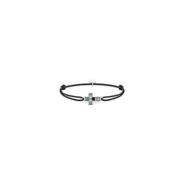 Bracelet Thomas Sabo Little Secret croix en argent, nacre et onyx vue 1