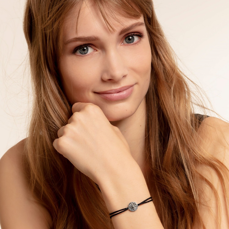 Bracelet Thomas Sabo Little Secret boussole vintage en argent et nylon vue 2