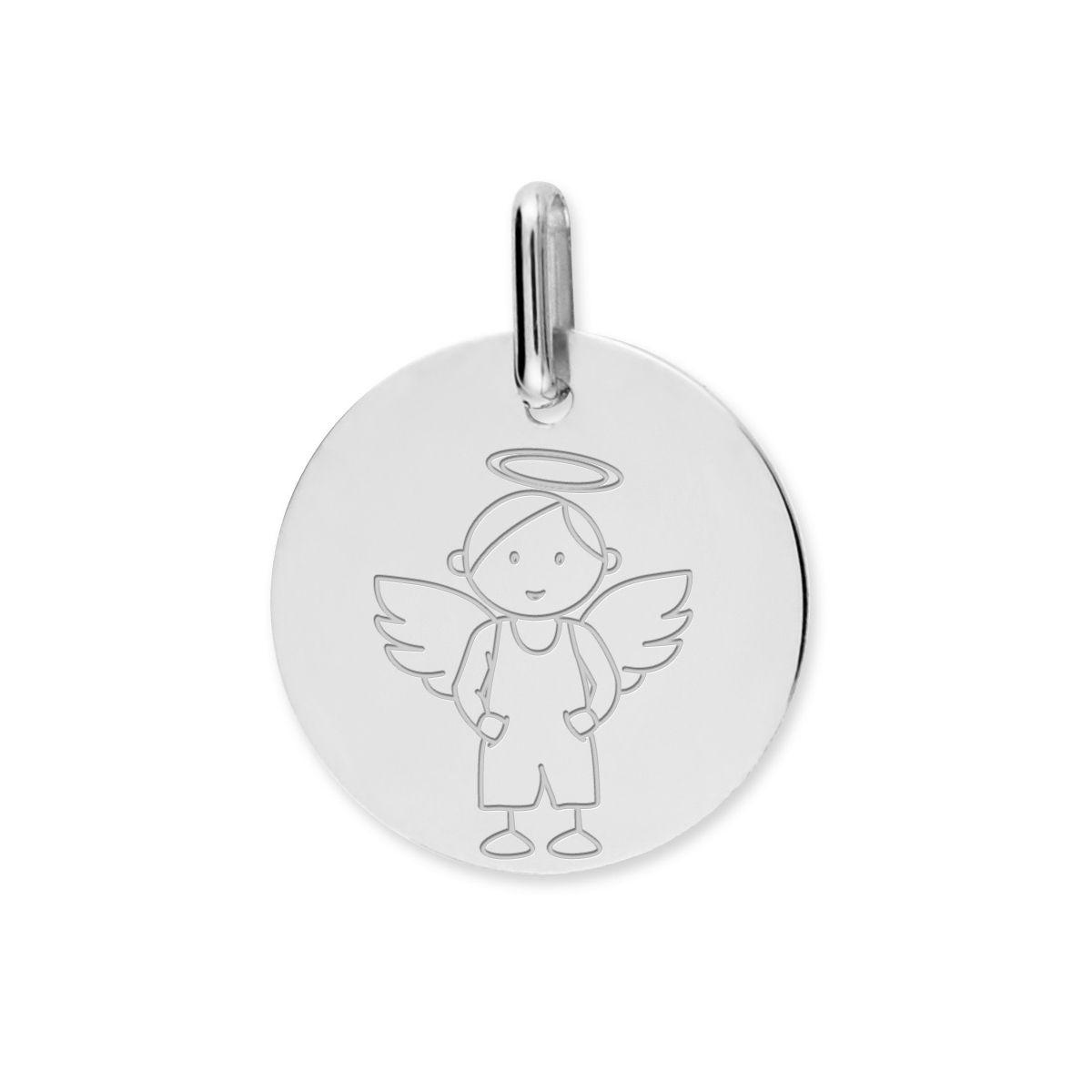 Médaille de baptême Lucas Lucor ange en or blanc