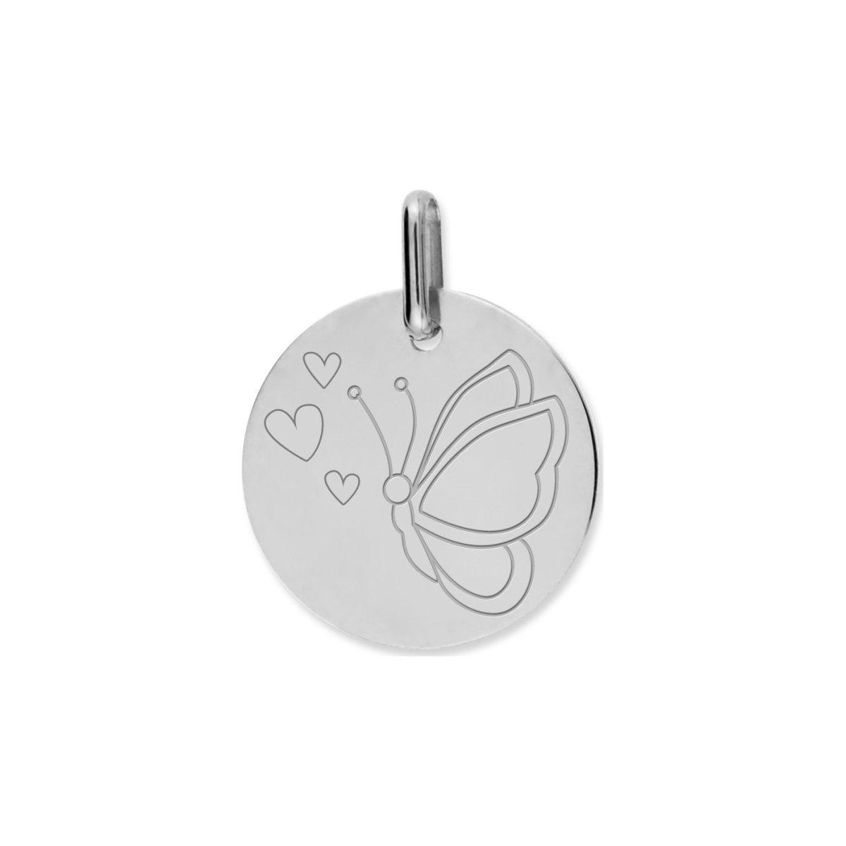 Médaille de baptême papillon en or blanc