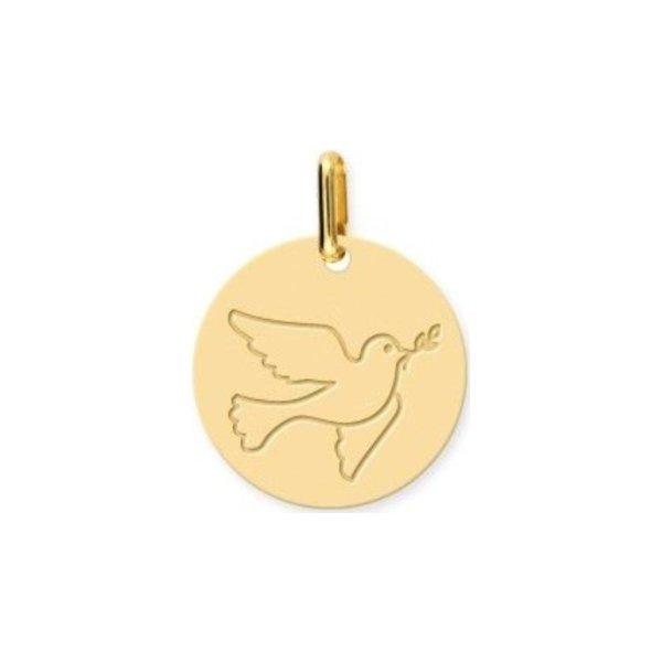 Médaille de baptême Lucas Lucor colombe en or jaune