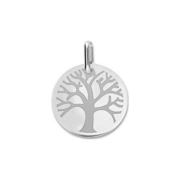 Médaille de baptême Lucas Lucor arbre de vie en or blanc