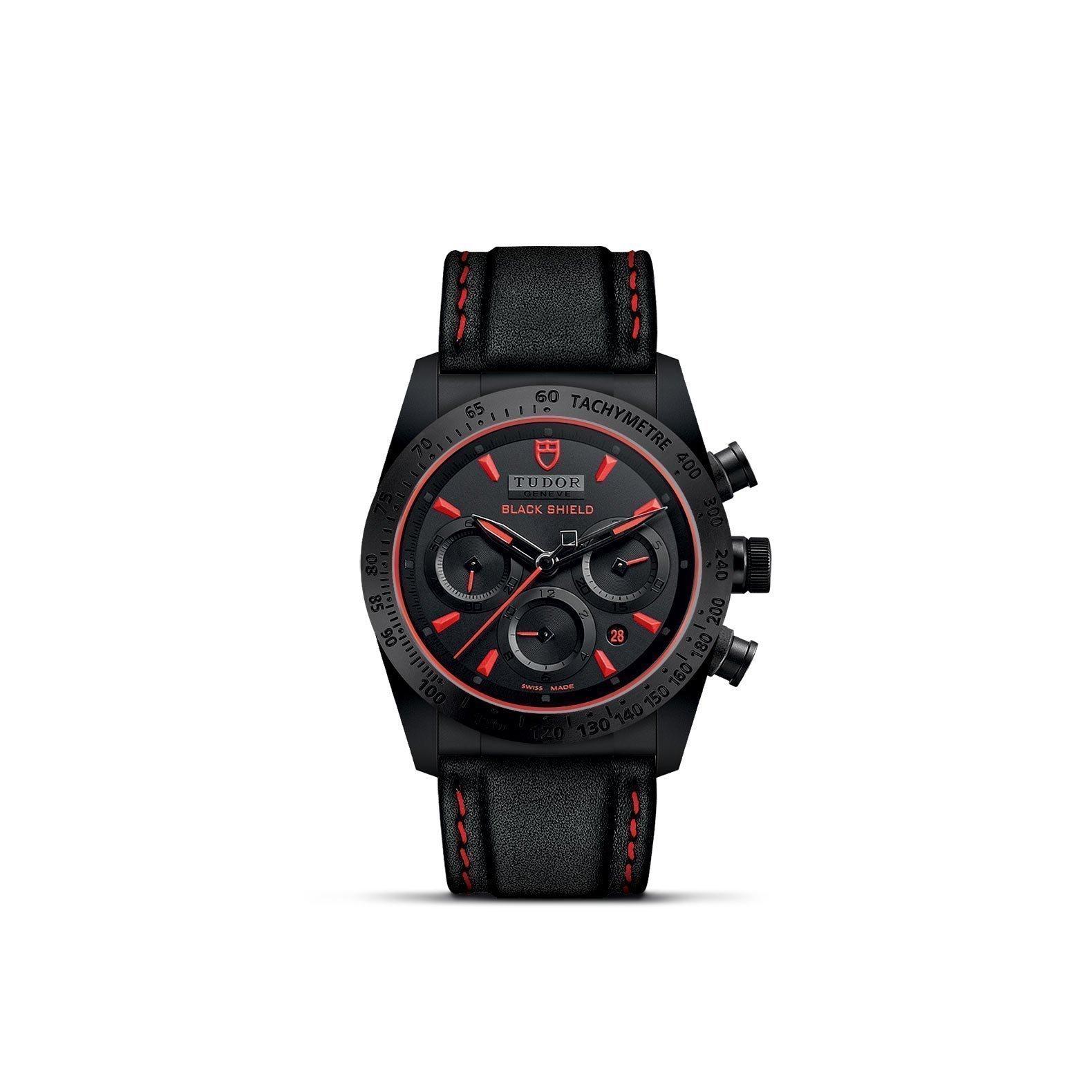 Montre TUDOR Fastrider Black Shield boîtier en céramique, 42mm, bracelet en cuir noir vue 1