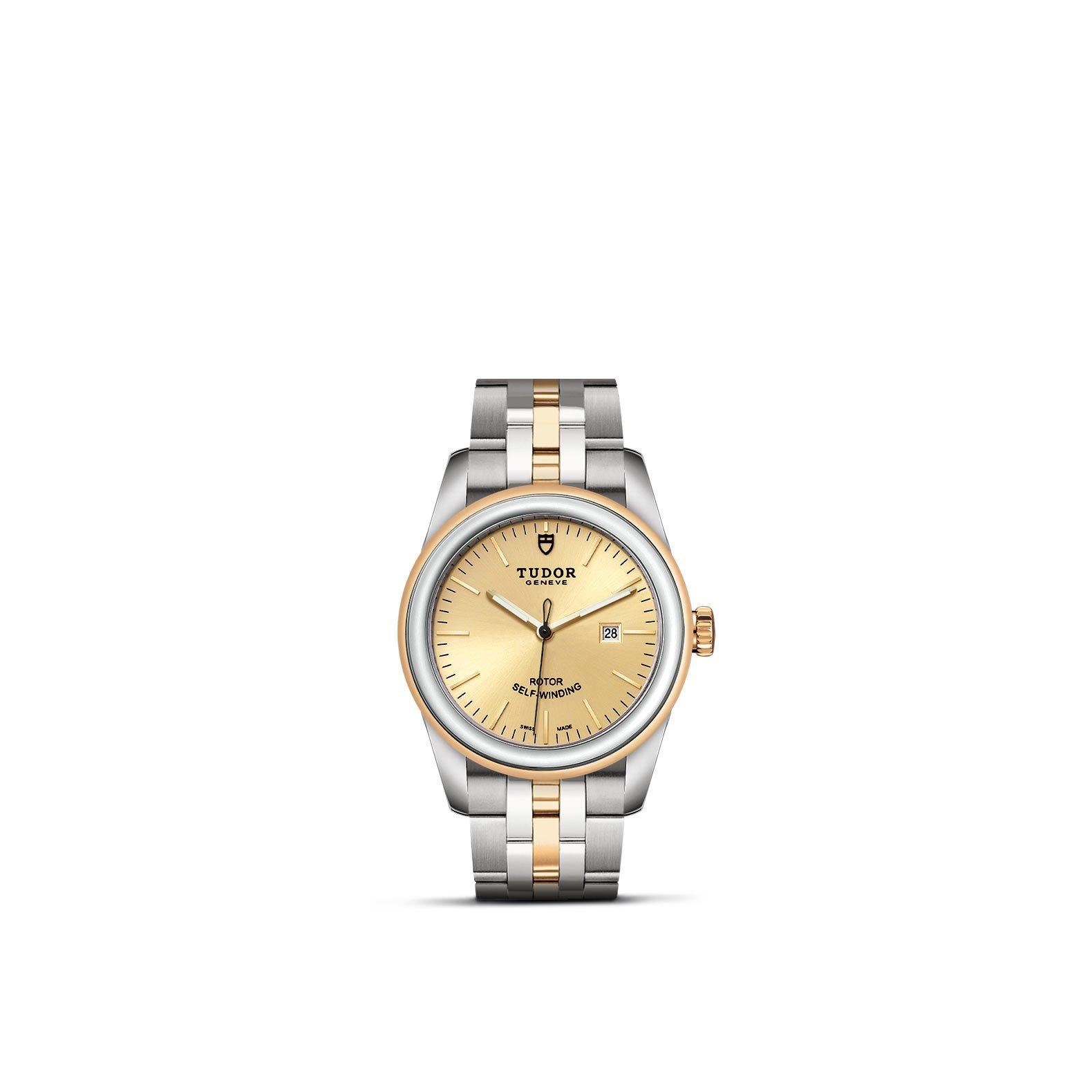 Montre TUDOR Glamour Date boîtier en acier, 31mm, lunette en acier et or jaune vue 1
