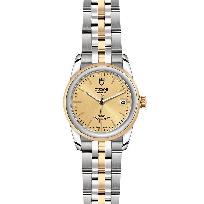 Montre TUDOR Glamour Date boîtier en acier, 36mm, lunette en acier et or jaune vue 2