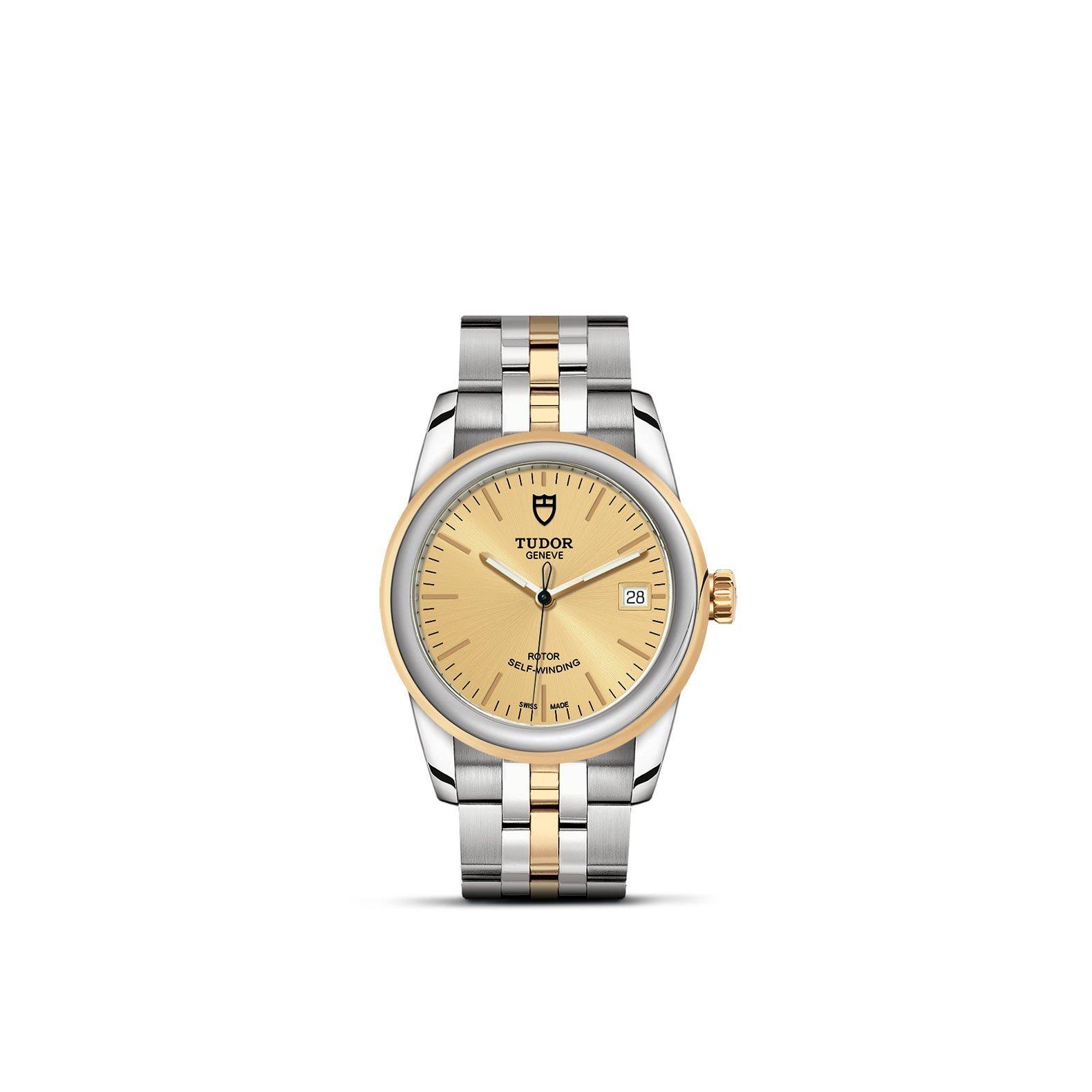 Montre TUDOR Glamour Date boîtier en acier, 36mm, lunette en acier et or jaune vue 1