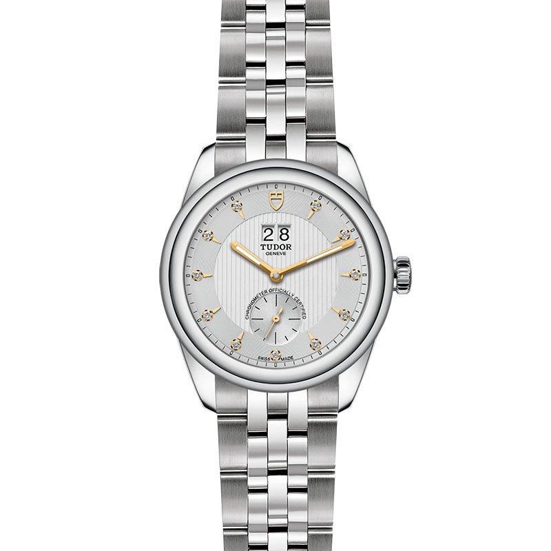 Montre TUDOR Glamour Double Date boîtier en acier, 42mm, cadran serti de diamants vue 2