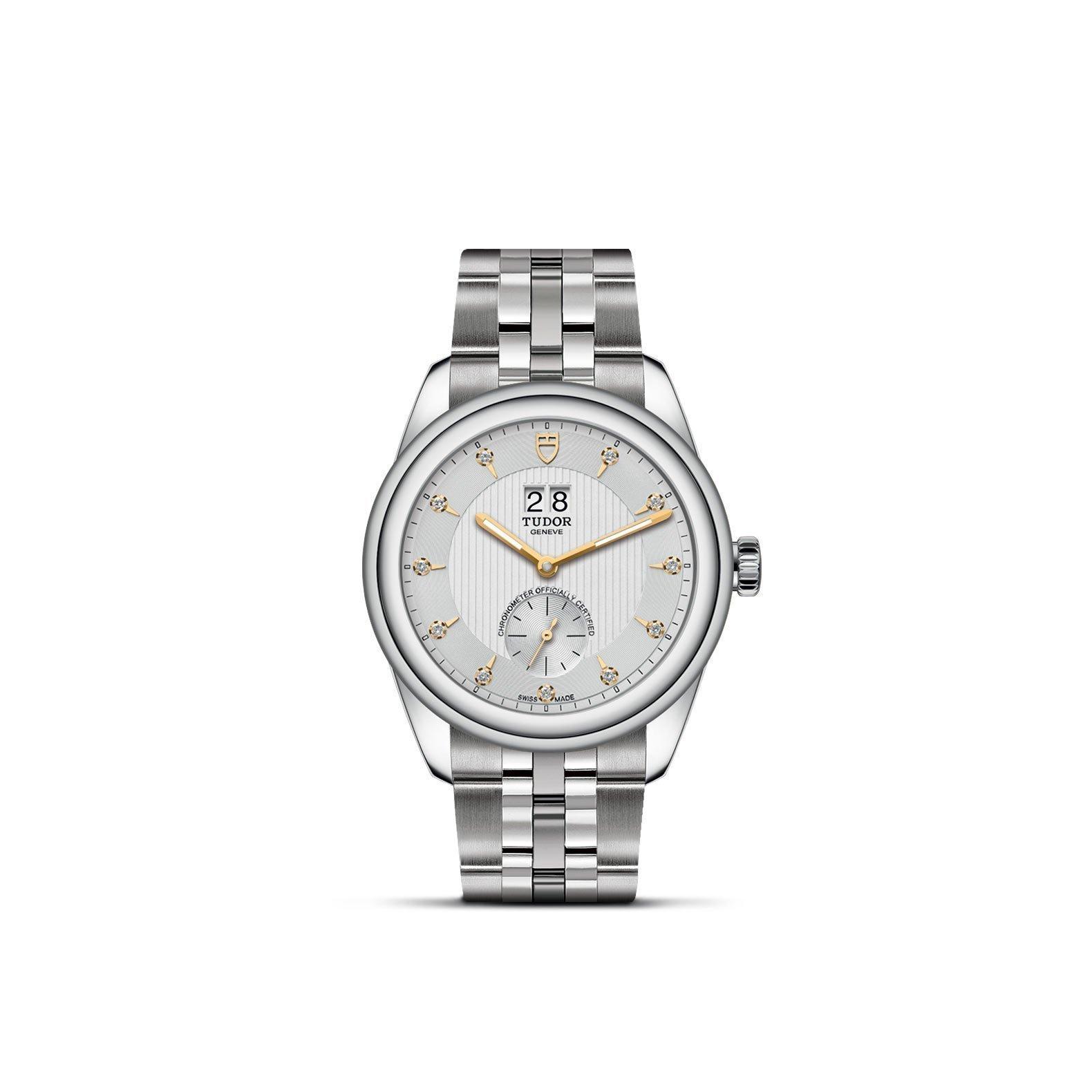 Montre TUDOR Glamour Double Date boîtier en acier, 42mm, cadran serti de diamants vue 1