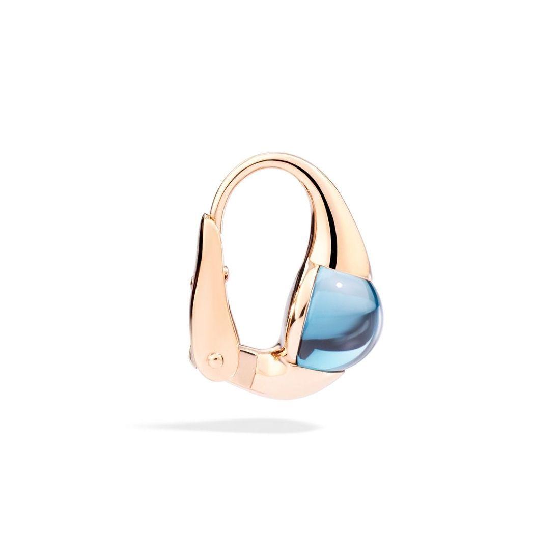 Boucles d'oreilles Pomellato M'ama Non M'ama en or rose et topaze bleue london vue 2