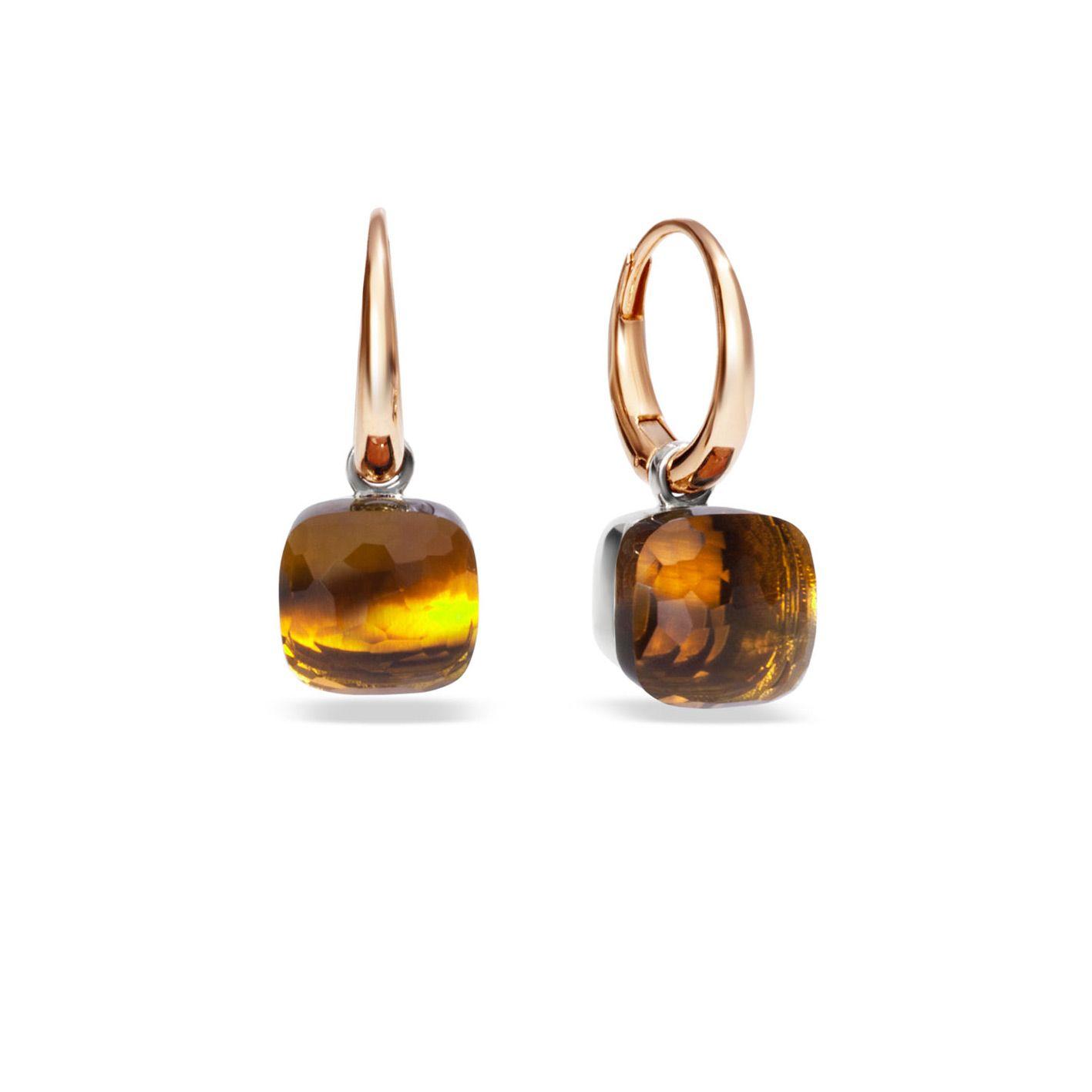 Boucles d'oreilles Pomellato Nudo en Or rose, or blanc et Quartz madère vue 1