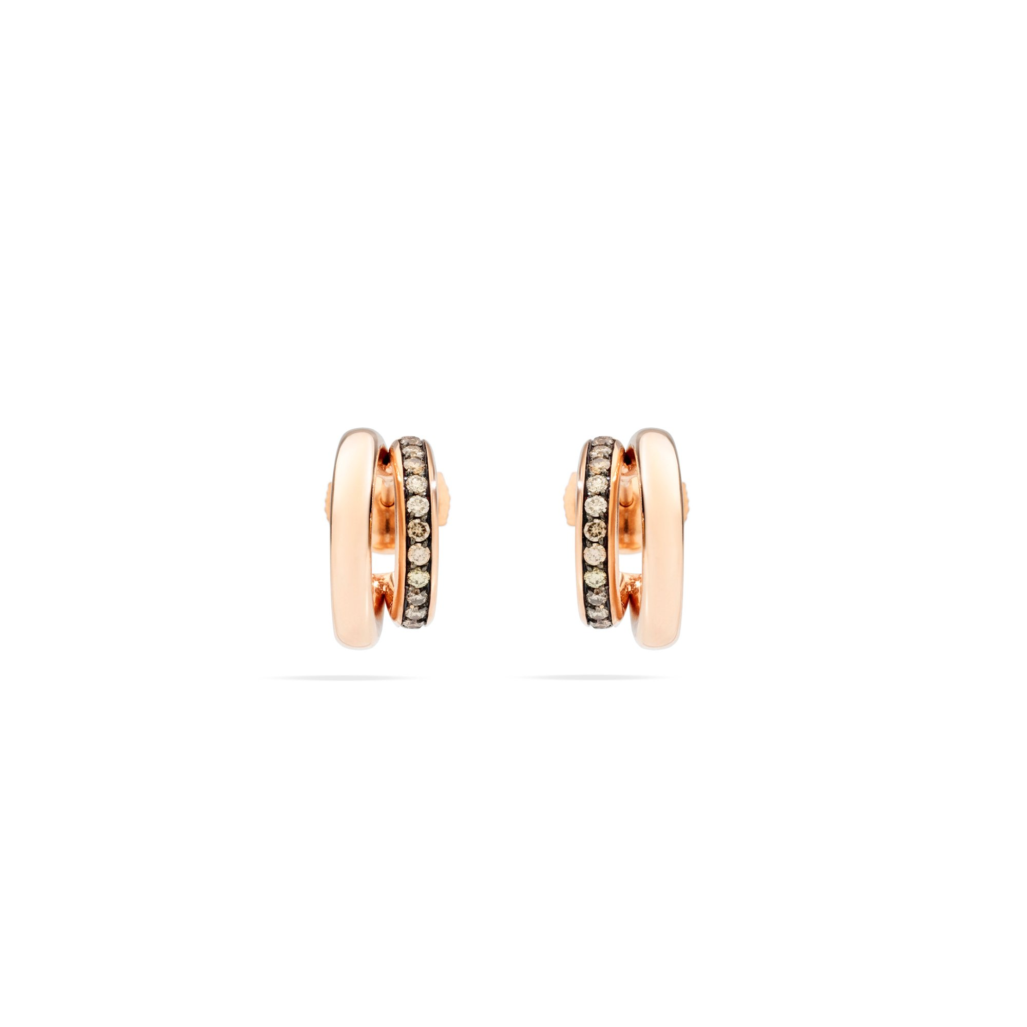Boucles d'oreilles Pomellato Iconica en or rose et diamants bruns