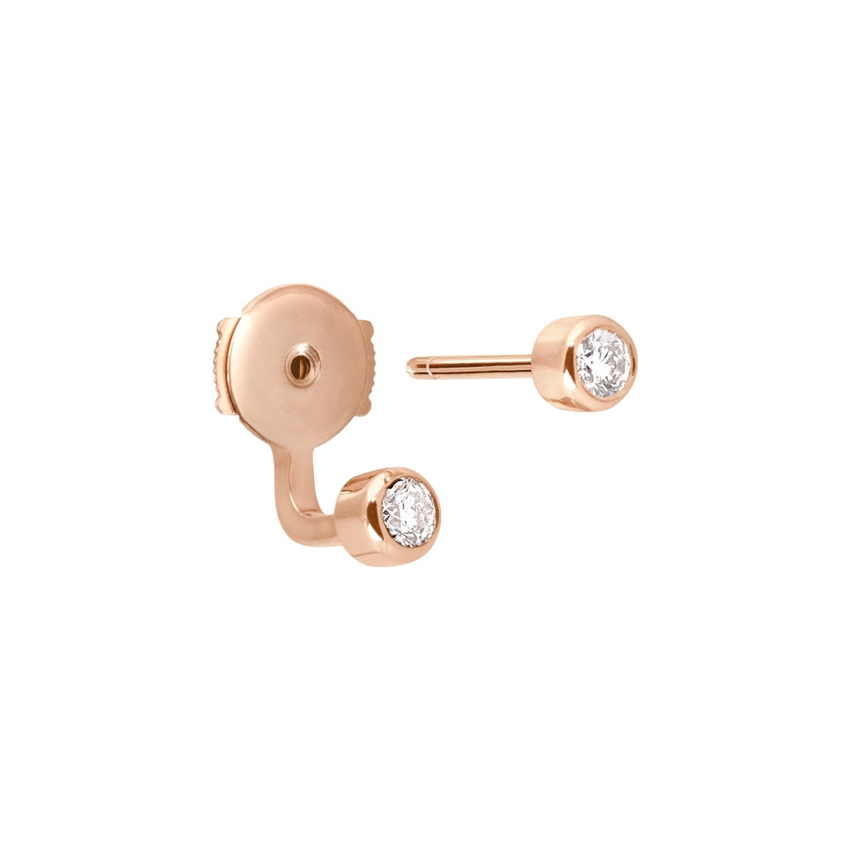 Mono boucle d'oreille Vanrycke Mademoiselle Else en or rose et 2 diamants vue 3