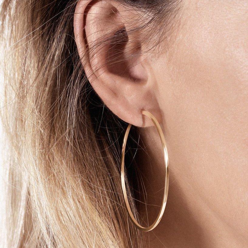 Mono boucle d'oreille créole Vanrycke Officiel en or rose, taille L vue 3