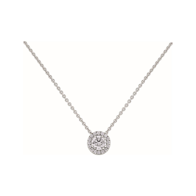 Pendentif diamant taille brillant entouré de diamants en or blanc
