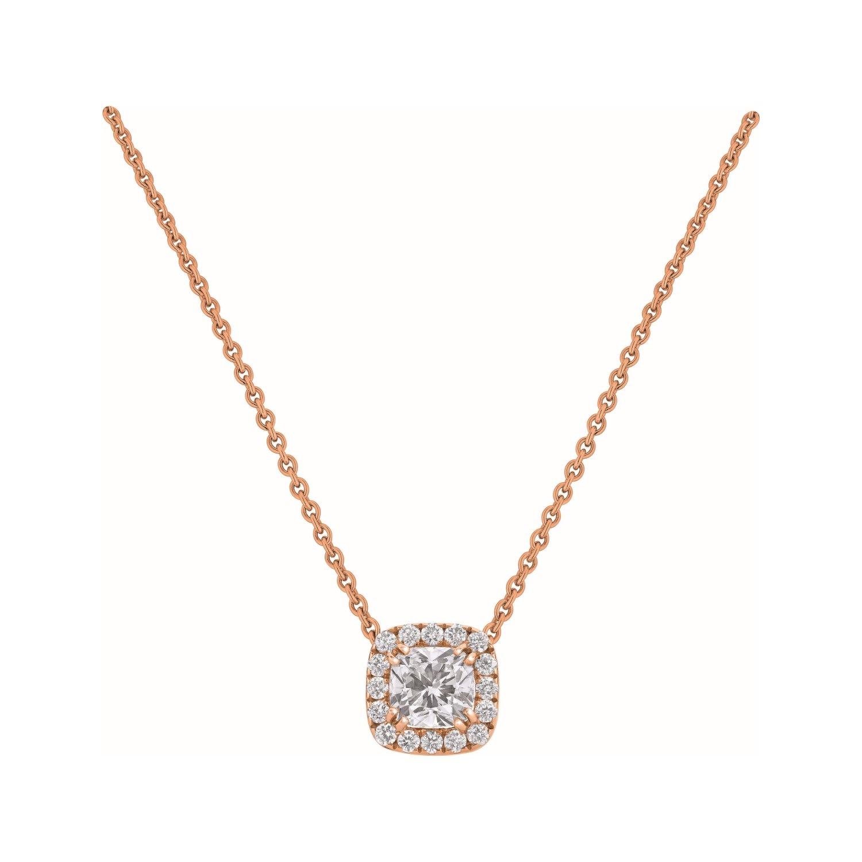Pendentif diamant taille coussin entouré de diamants taille brillant en or rose