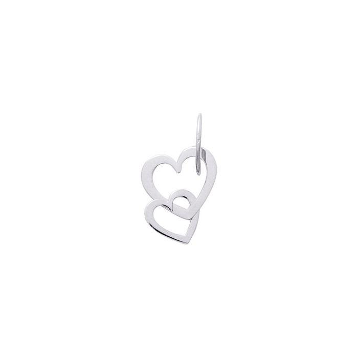 Pendentif cœurs en or blanc