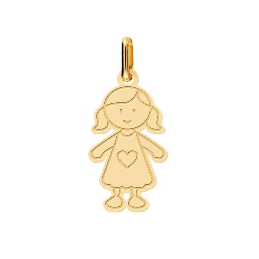 Pendentif petite fille en or jaune
