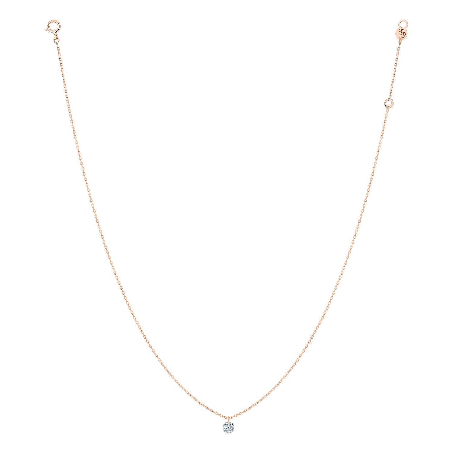 Collier LA BRUNE & LA BLONDE 360° en or rose et diamant de 0.07ct