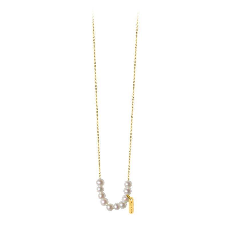 Collier Claverin Mini Rosary en or jaune et perles blanches vue 1