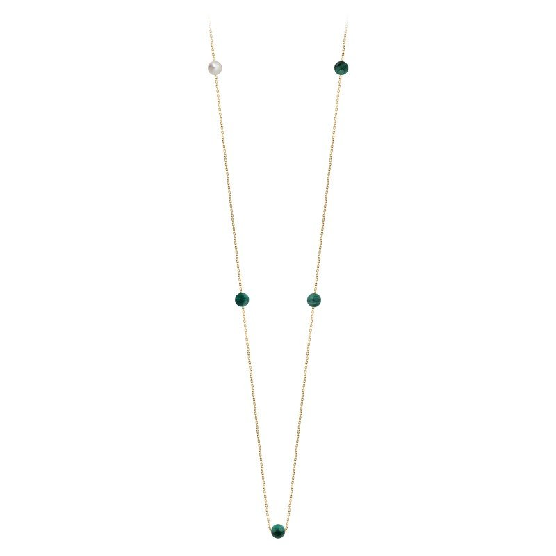 Collier Claverin Hope Five en or jaune, perles de malachite et perle blanche vue 1