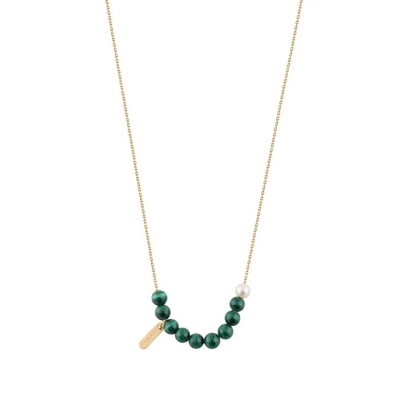 Collier Claverin Hope 10 en or jaune, perles de malachite et perle blanche