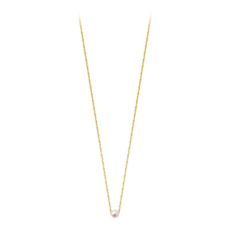 Collier Claverin Mini Simply Mini en or jaune et perle blanche vue 1